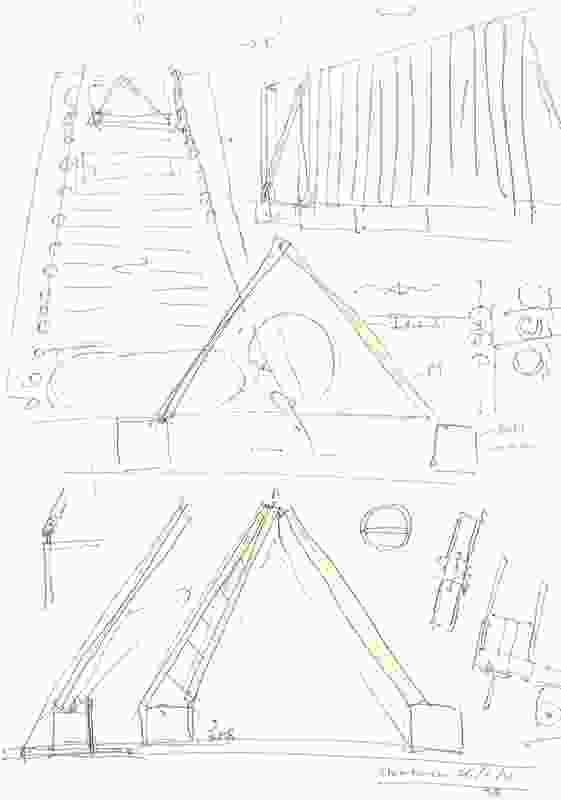 Shigeru Ban's Cardboard Cathedral concept sketch.