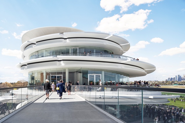 Victorian Racing Club's new club stand by Bates Smart is a building experienced in the round.