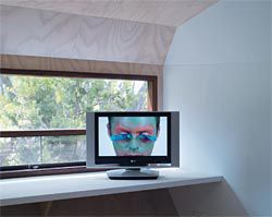 Frogman, a video installation by Cate Consandine, in the main bedroom.Image: Peter Bennetts