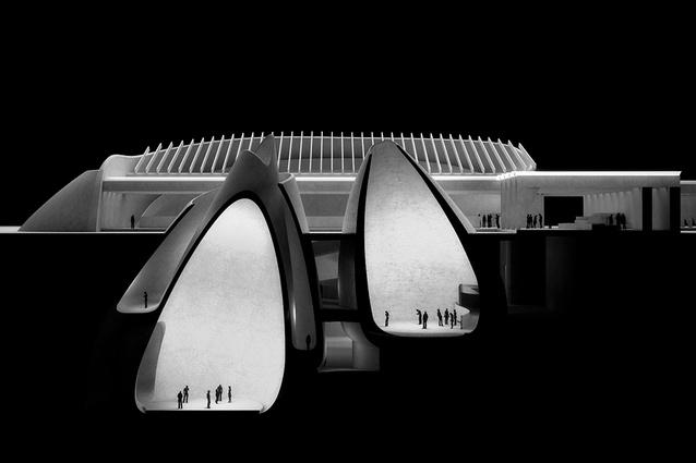 A visualisation of Jørn Utzon's unbuilt Silkeborg Museum (1964), produced for an exhibition titled <i>Fatamorgana – Utzon meets Jørn</i> at the Utzon Center in 2016.