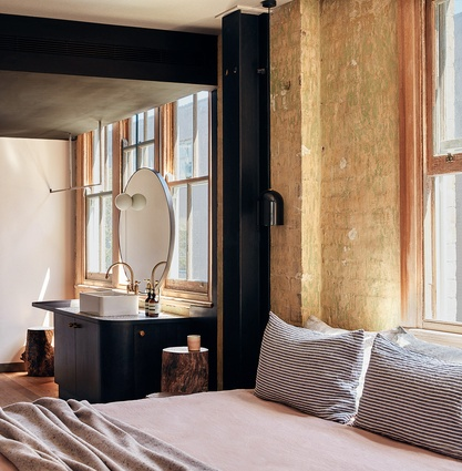 No two of the hotel's twenty-nine rooms are the same – the building's layers of former uses and years of wear have been kept to retain character.