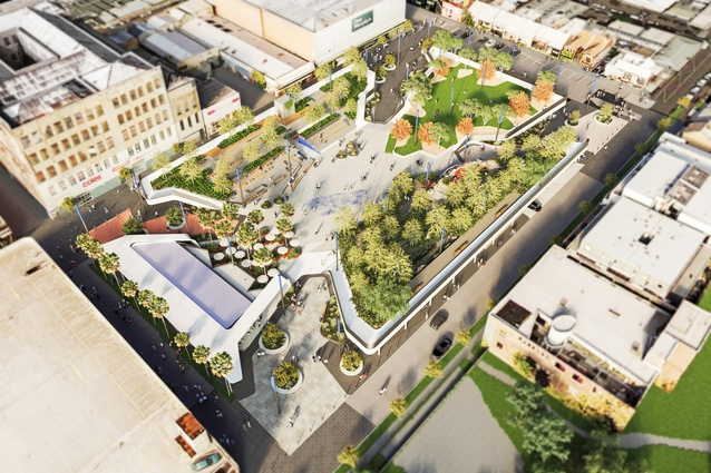 An aerial view of the new Cato Square that will replace a car park near Chapel Street in Melbourne's Prahran.
