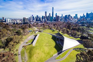 Sidney Myer Music Bowl by Barry Patten of Yuncken Freeman, Griffiths and Simpson, completed in 1959.