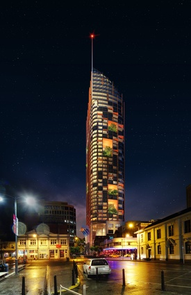 The tower designed by Xsquared Architects, located on Davey Street.