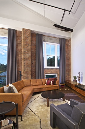 The living room's original brick edge.