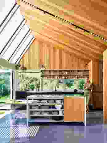 Blackbutt, lining the kitchen's walls and one side of its raked ceiling, gives way to glazing that allows sunlight to flood inside.