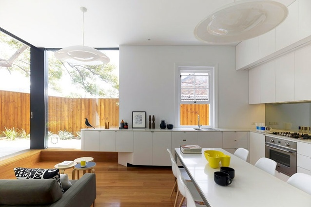 Open-plan living, dining and kitchen areas in the rear addition.