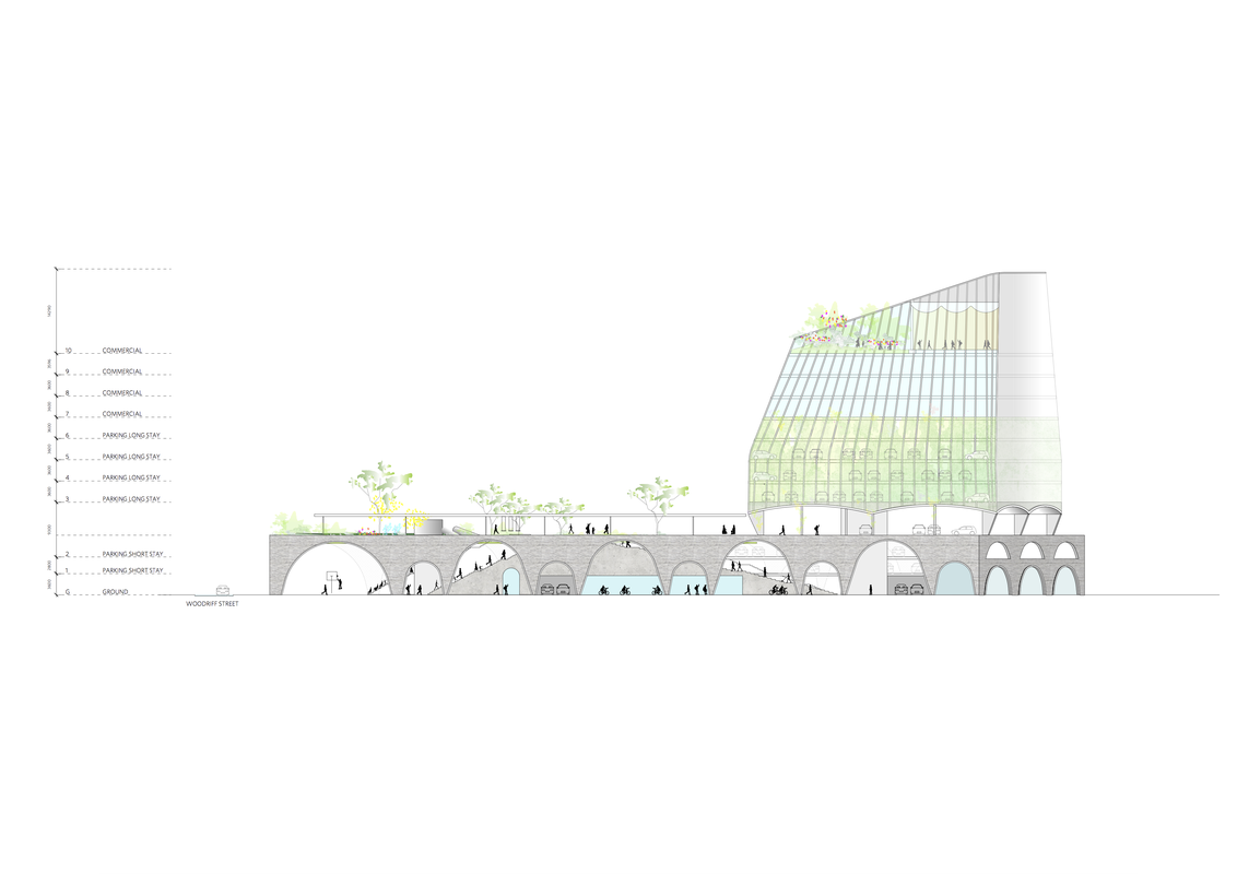 A section Durbach Block Jaggers's winning design for Penrith City Council's Soper Place development.