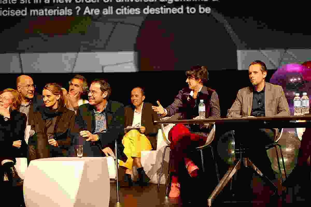 Discussion panel (from let): Billie Faircloth, Kathrin Aste, Tim Greer. At rear: Carey Lyon, Jose Selgas, Spain), panellist Thierry LaCoste, conference co-convenor Sandra Kaji O'Grady and facilitator Philippe Block.