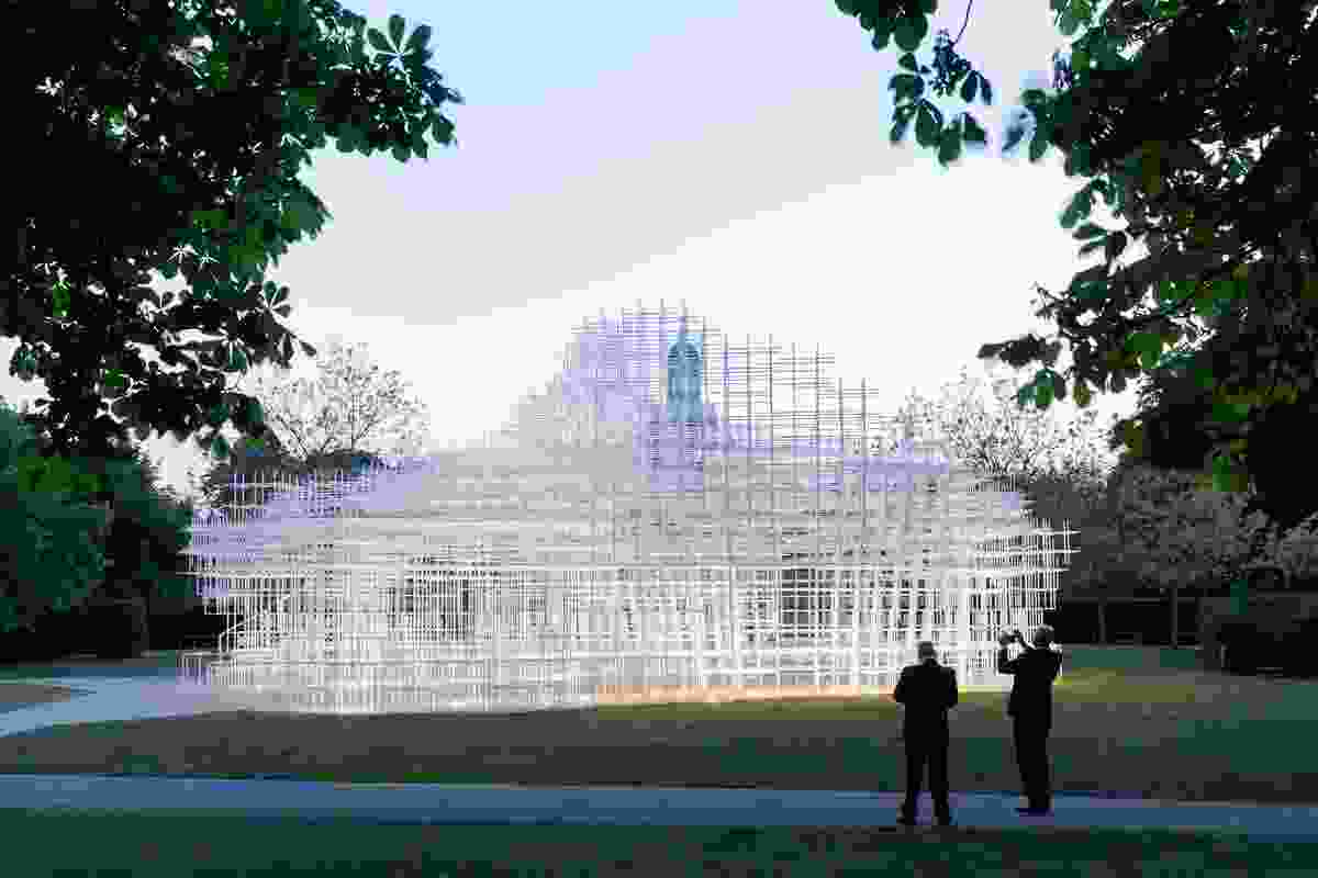 The pavilion's delicate, grid-like structure allowed its edges to blur against the landscape and Serpentine Gallery building.