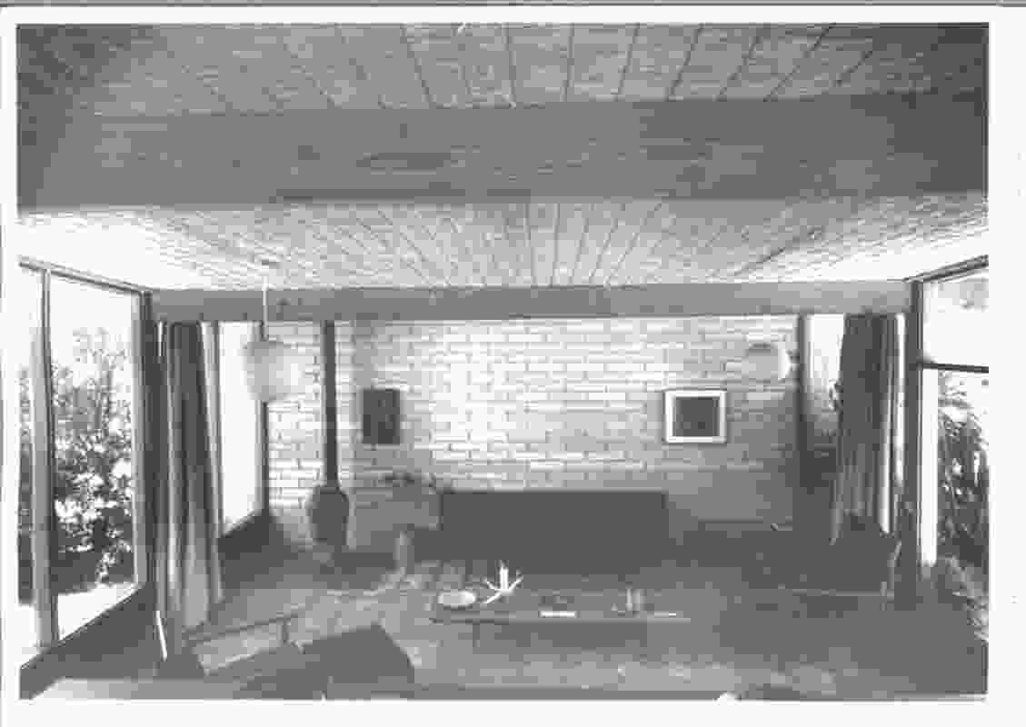 Original photograph (c.1958) of the living room prior to the addition of the main bedroom to the north.