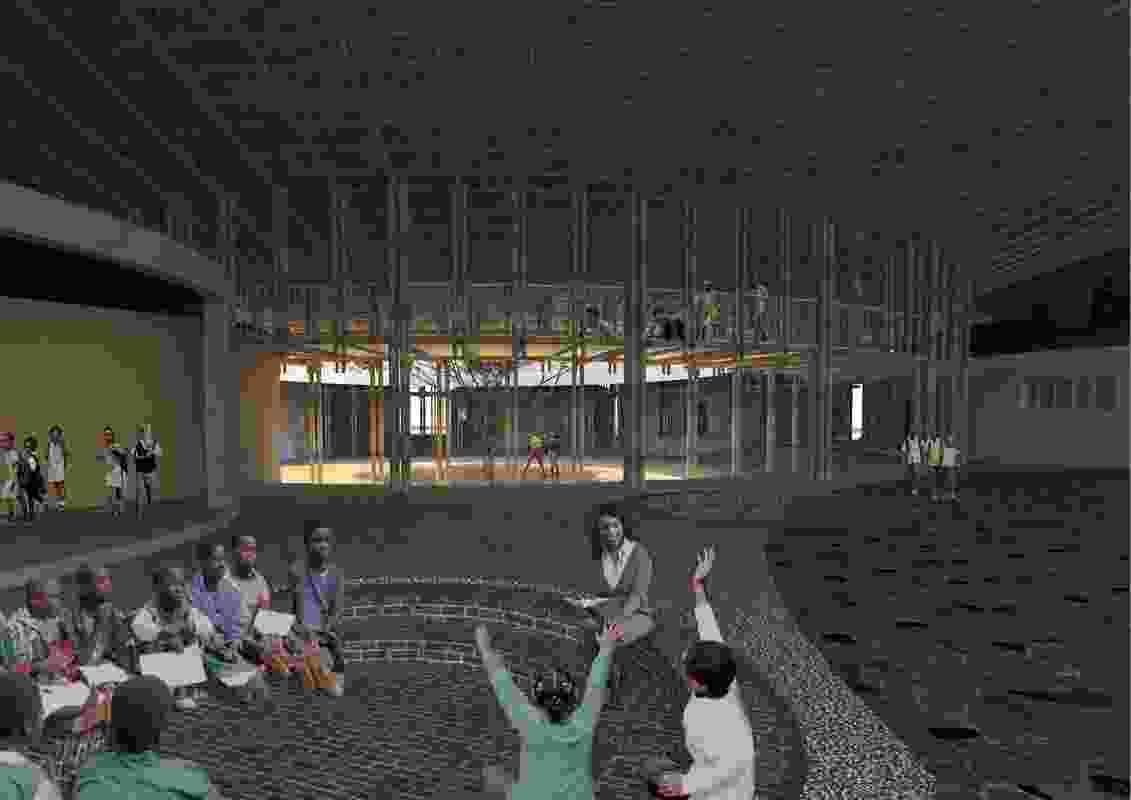 The Kenyan ecovillage's storytelling pit designed by O2 Design Atelier.