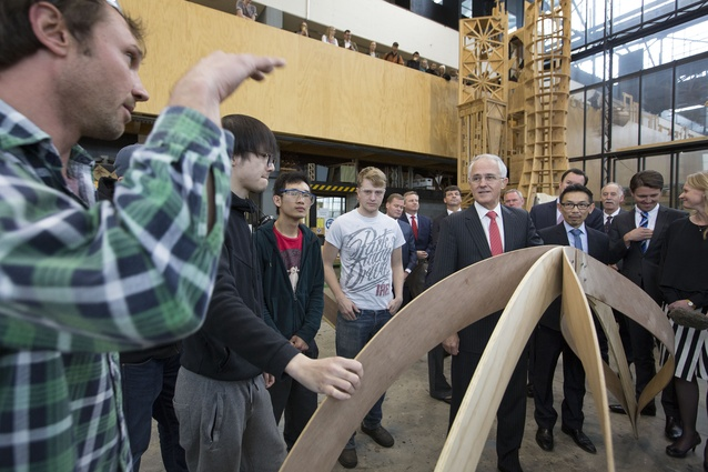Prime minister Malcolm Turnbull visits The University of Tasmania's Architecture and Design School.