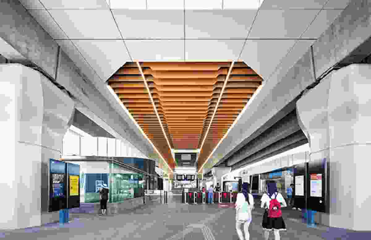 Each station in the Caulfield to Dandenong Corridor is conceived as a community hub, with an urban plaza at ground level.