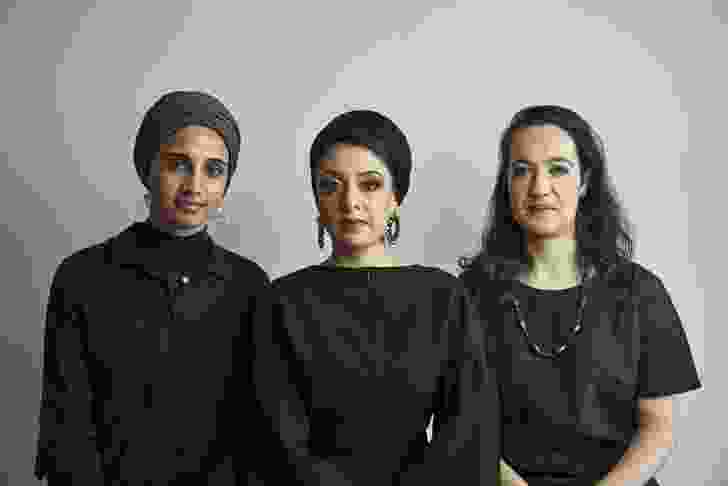 Amina Kaskar, Sumayya Vally and Sarah de Villiers of Counterspace. Photographed by Justice Mukheli in Johannesburg, 2020.