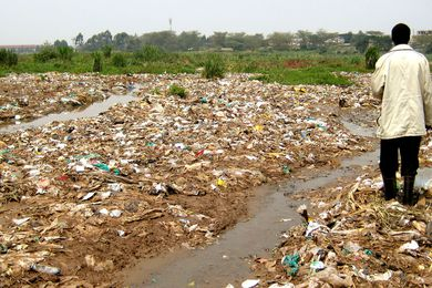 Kibera Public Space Project 01 site in 2006, before the Kounkuey Design Initiative began.