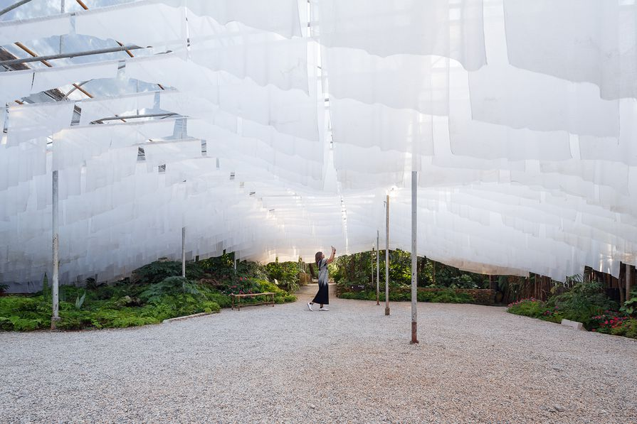 In the Mountain (2016), an installation at Doi Tung mountain in the Chiang Rai region of Thailand,  constructed from cloth made from ground coffee and the fruits of the tea oil tree. The project represents the idea of a coexistence between people and the land.