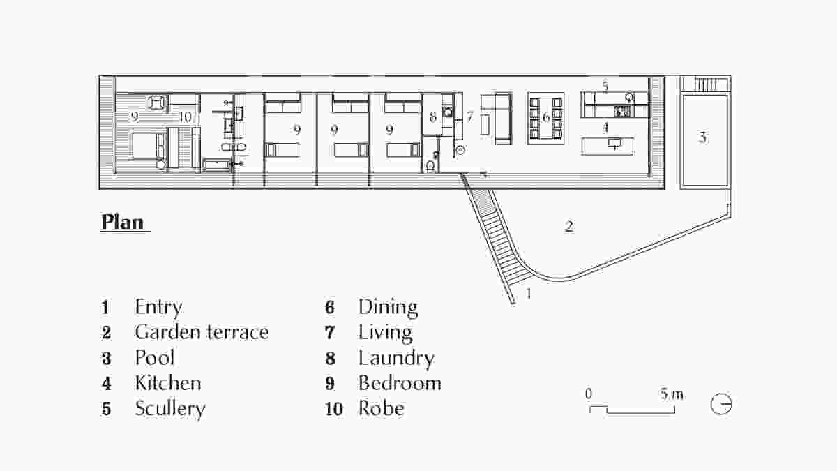 Plan of Tinbeerwah House by Teeland Architects.