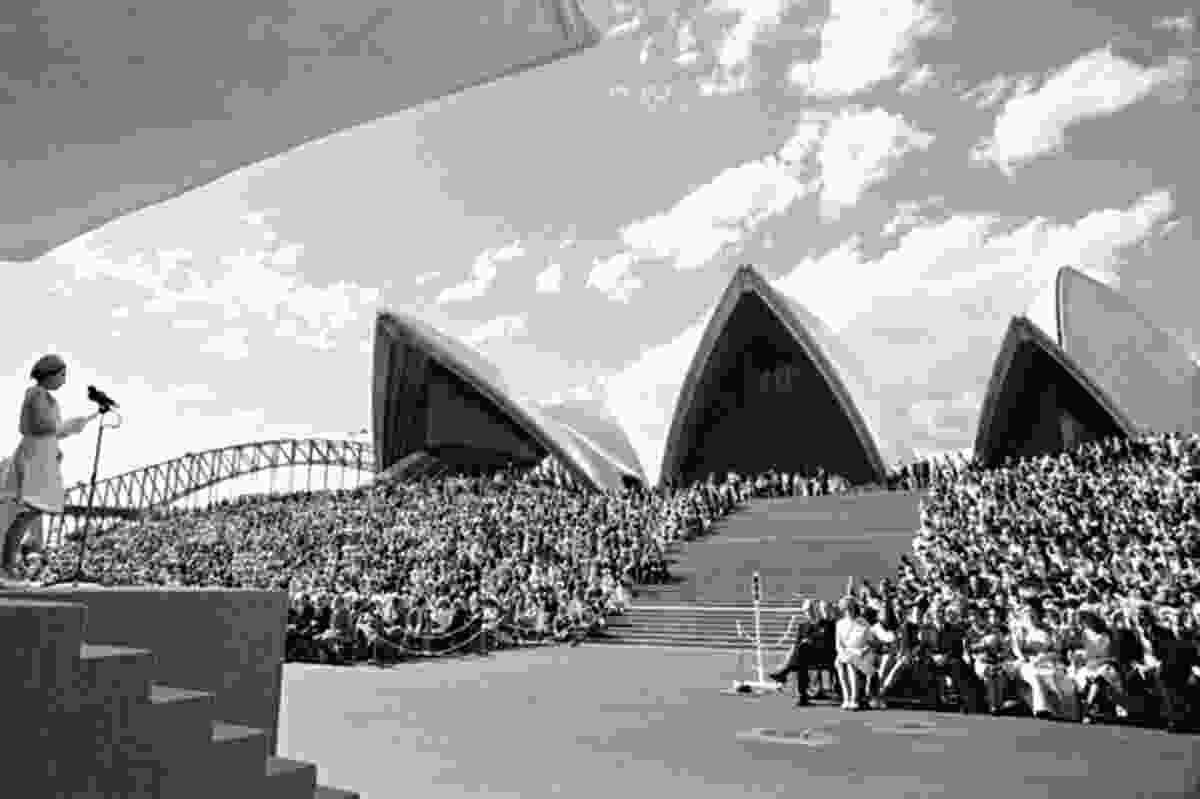 Queen Elizabeth II officially opens the Sydney Opera House on 20 October 1973.
