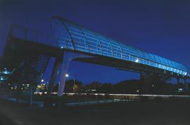 The dramatic night-time transformation of the bridge into an ethereal object with a combination of bright white and blue lighting. Image: Ross Honeysett