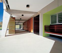 Timber seats and benches define the area