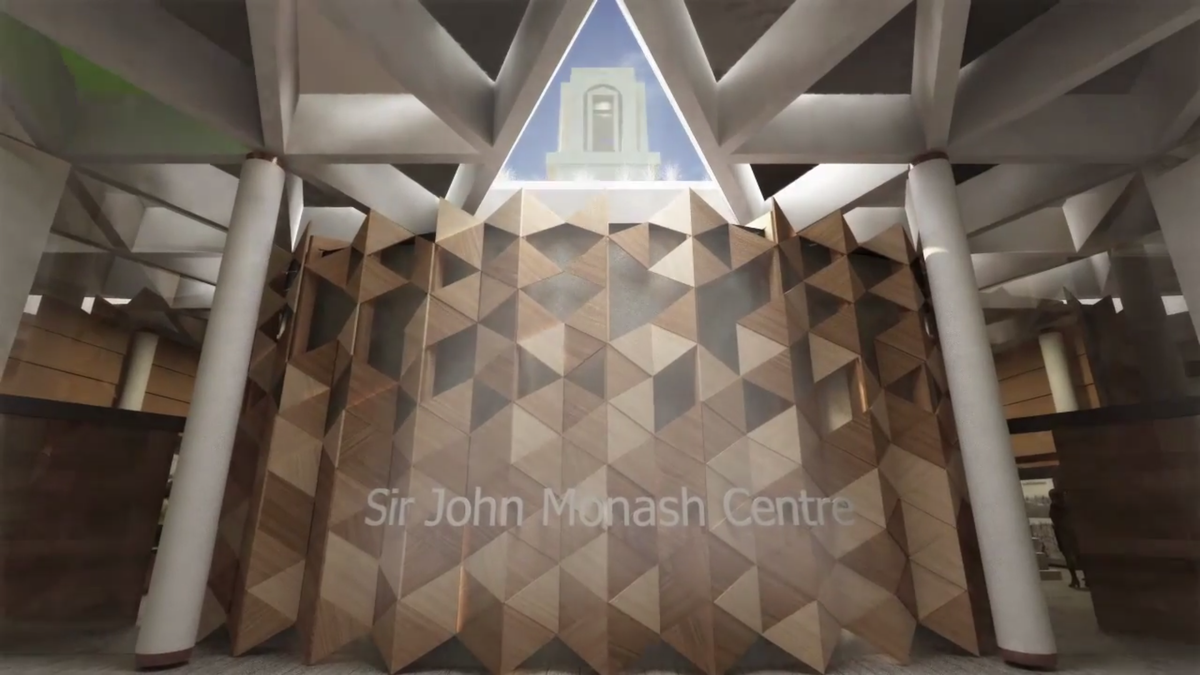 The proposed oculus opens up to a view of the original memorial tower.