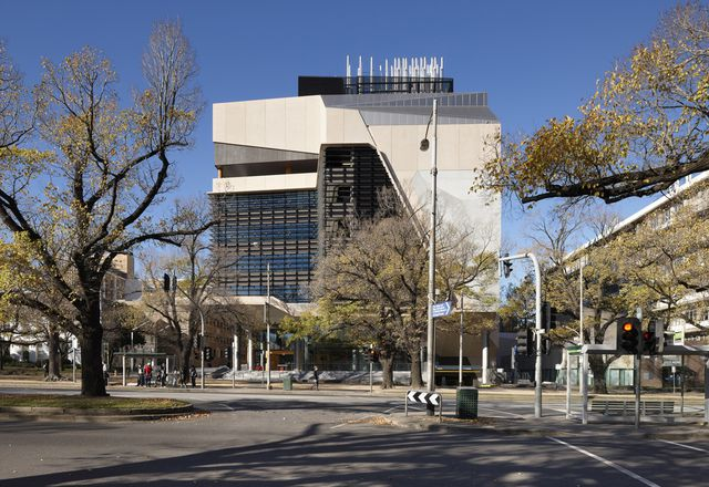 The exterior of the Melbourne Brain Centre, Parkville, by Lyons.