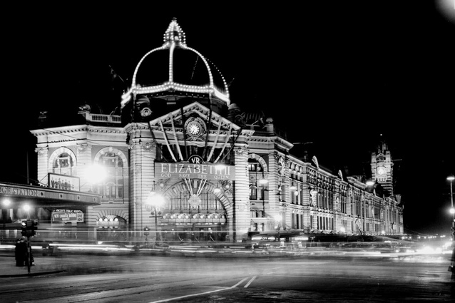 Archival photograph of Flinders Street Station.