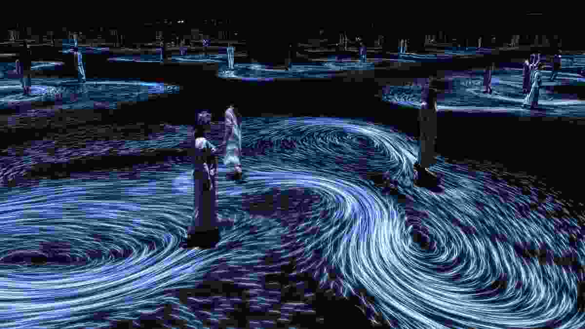 Moving Creates Vortices and Vortices Create Movement, 2017, interactive digital projection by TeamLab.
