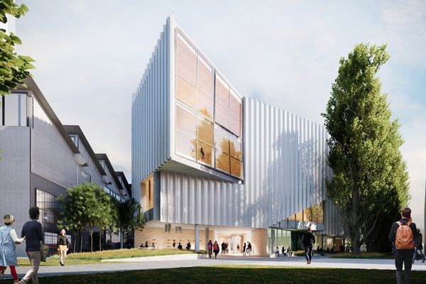 The proposed River's Edge building at the University of Tasmania by John Wardle Architects and 1+2 Architecture.